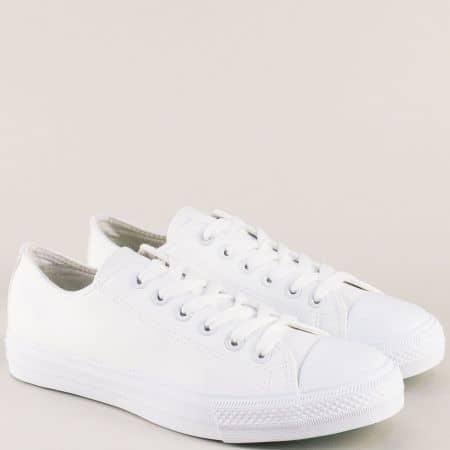 Бели мъжки кецове на равно ходило- Grand Attack 30420-45b