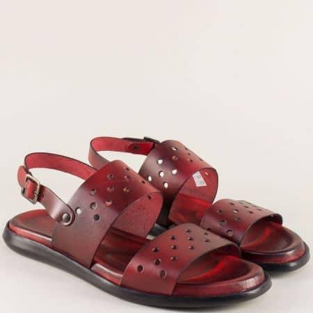 Мъжки сандали от естествена кожа в бордо с перфорация 3044bd