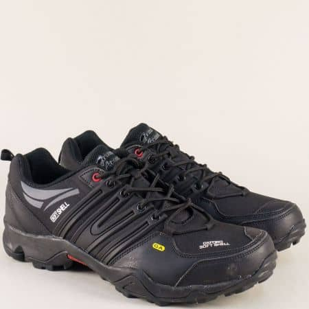 Мъжки маратонки с връзки в черен цвят- Grand Attack  30451-49ch