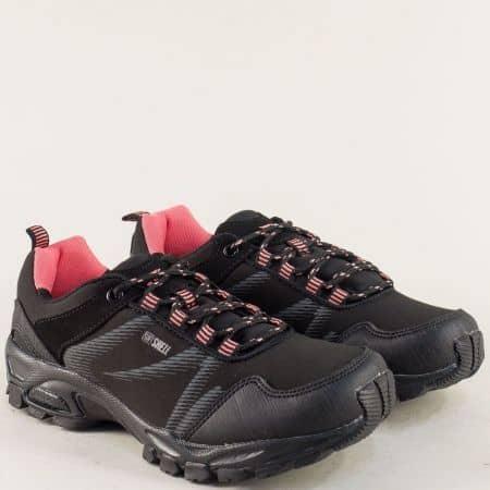 Дамски маратонки с връзки в черно и розово 30458-40chrz