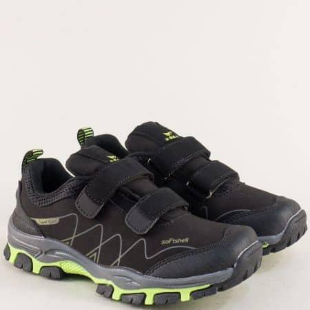 Детски маратонки в зелено и черно с две лепки 30461-35chz