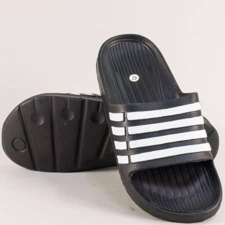 Равни мъжки джапанки в черно и бяло- GRAND ATTACK 30507ch