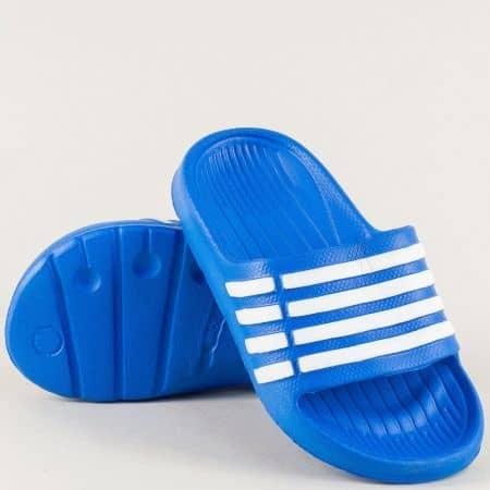 Равни детски джапанки в синьо и бяло- GRAND ATTACK 30508s
