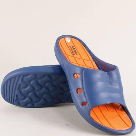 Сини мъжки джапанки с цяла лента- GRAND ATTACK 30514so