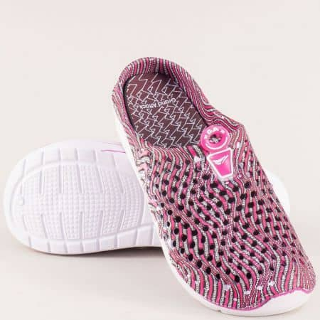 Розови дамски чехли със затворени пръсти и перфорация 30573rz