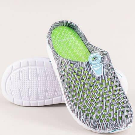 Дамски чехли със затворени пръсти в зелен цвят- GRAND ATTACK 30573z
