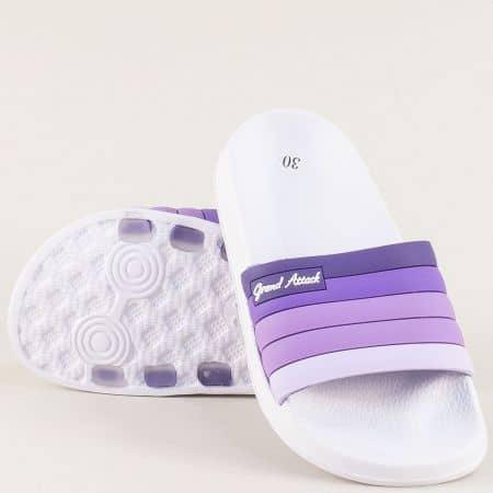 Детски джапанки в лилаво и бяло- GRAND ATTACK 30577l