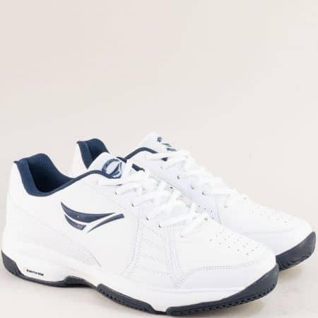 Мъжки спортни обувки в бяло и тъмно синьо 30596-45b