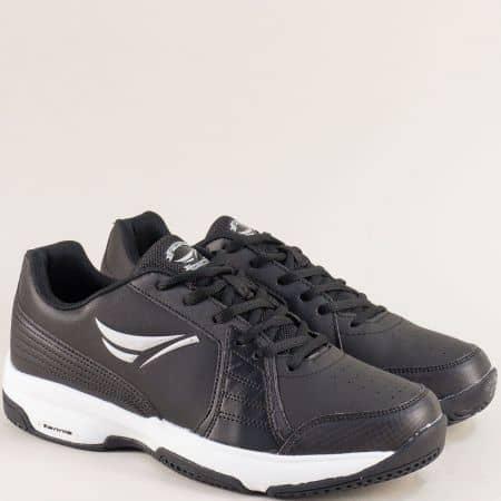 Черни мъжки маратонки с връзки на бяло ходило 30596-45ch