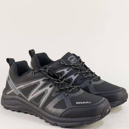 Мъжки маратонки с връзки в сиво и черно 30606-45chsv
