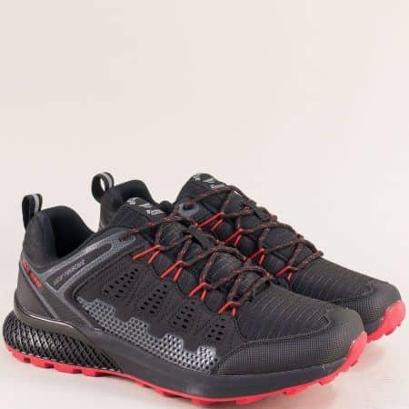 Мъжки маратонки в черно и червено- Grand Attack 30609-45chchv