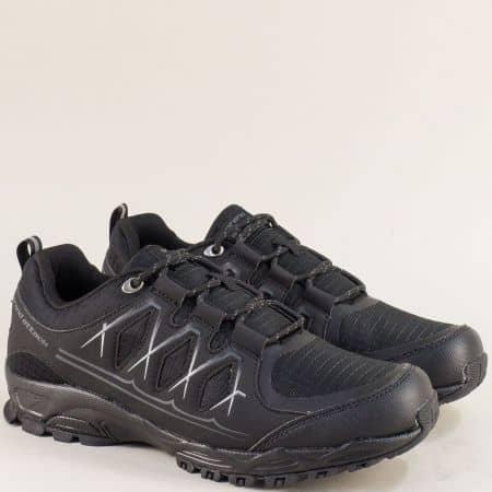 Мъжки маратонки с връзки в черен цвят- Grand Attack  30610-45ch