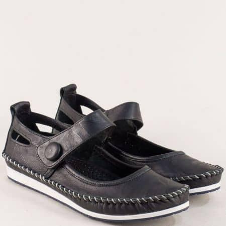 Черни дамски обувки на равно ходило от естествена кожа 3061010ch