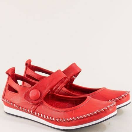 Червени дамски обувки от естествена кожа на равно ходило 3061010chv