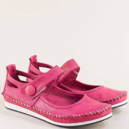 Цикламени дамски обувки от естествена кожа на равно ходило 3061010ck