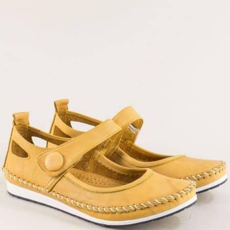 Жълти дамски обувки от естествена кожа с прорези 3061010j
