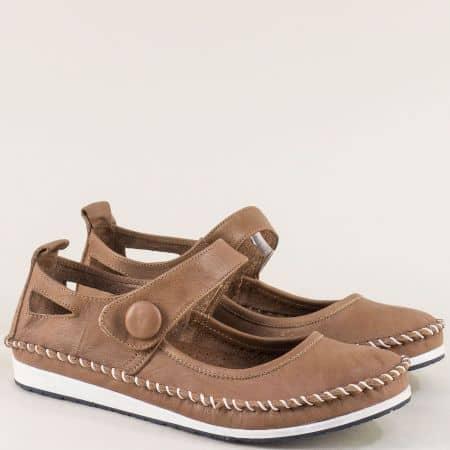 Светло кафяви дамски обувки с кожена стелка и лепка 3061010k