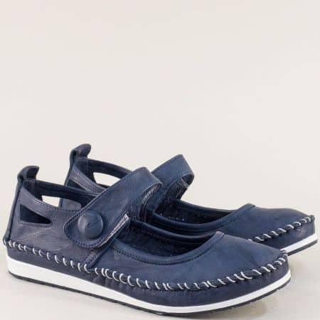 Естествена кожа дамски обувки на равно ходило в тъмно син цвят 3061010s