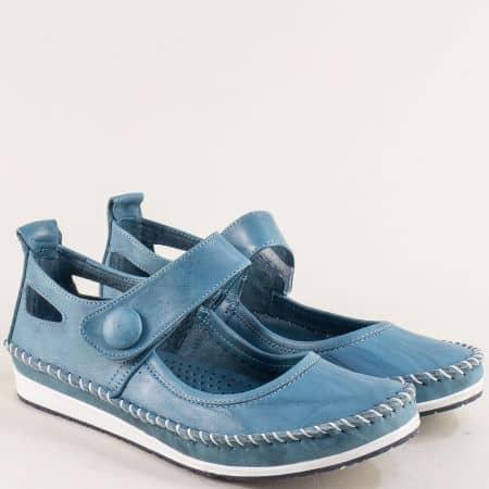 Сини дамски обувки от естествена кожа на равно ходило 3061010ss