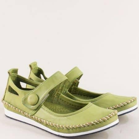 Зелени дамски обувки с велкро лента от естествена кожа 3061010z