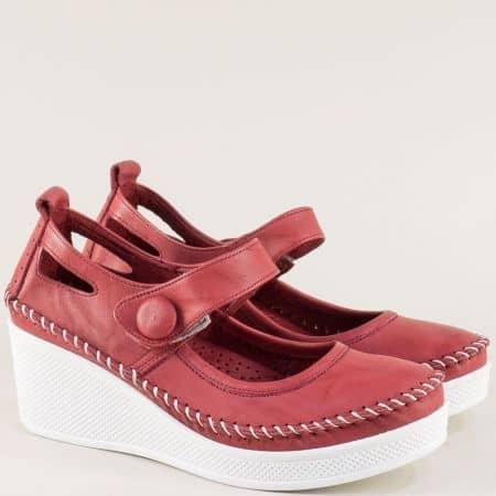 Кожени дамски обувки на платформа в цвят бордо 30614810bd