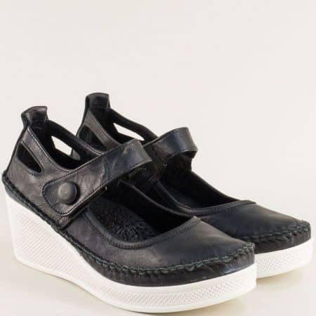 Черни дамски обувки от естествена кожа на бяла платформа 30614810chb
