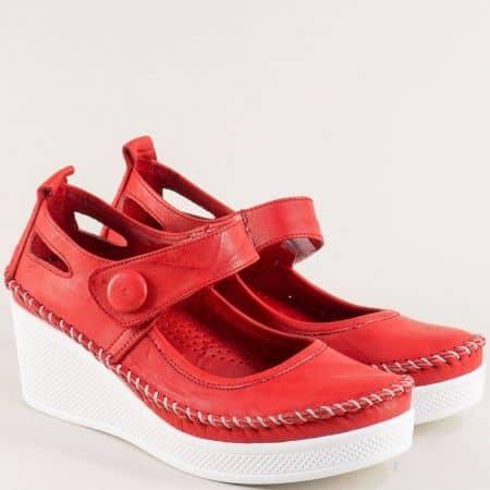 Червени дамски обувки от естествена кожа на платформа 30614810chv