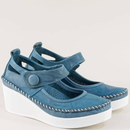 Сини дамски обувки от естествена кожа на платформа 30614810s
