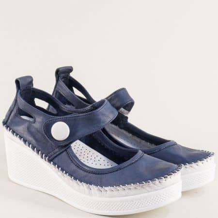 Дамски обувки на платформа в синьо и бяло с лепка 30614810sb