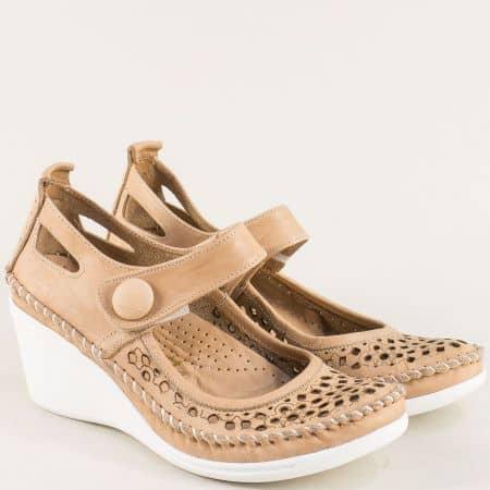 Бежови дамски обувки от естествена кожа на анатомична платформа 30621634bj