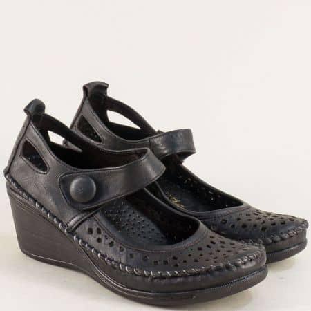 Черни дамски обувки на клин ходило от естествена кожа 30621634ch