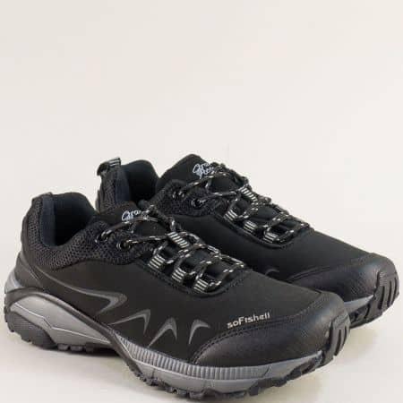 Дамски маратонки в сиво и черно- Grand Attack  30628-40ch
