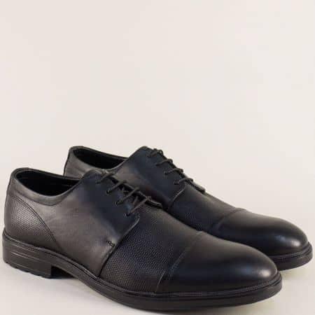 Мъжки обувки в черен цвят с кожена стелка и връзки 3067ch