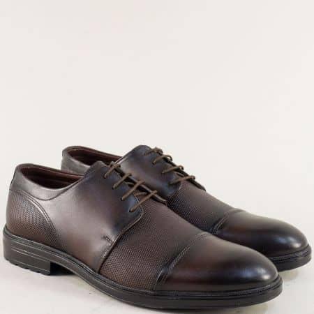 Тъмно кафяви мъжки обувки с връзки от естествена кожа 3067kk