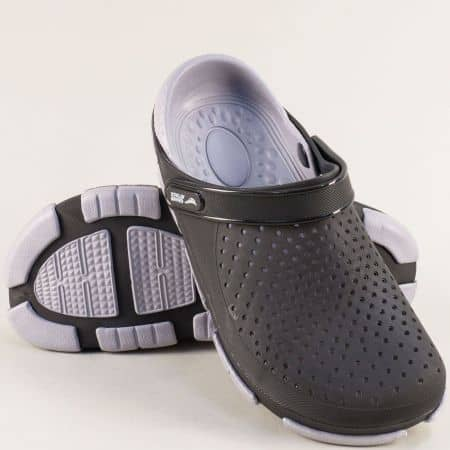 Перфорирани мъжки чехли със затворени пръсти в сиво и черно 30694chsv