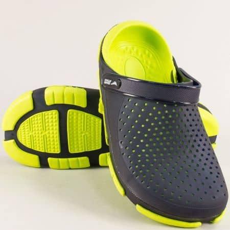 Мъжки чехли със затворени пръсти в зелено и черно- GRAND ATTACK 30694chz