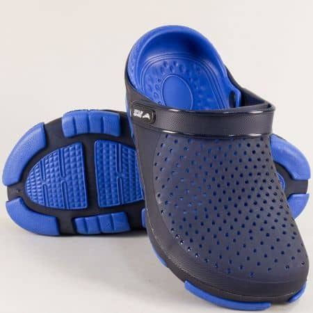 Перфорирани мъжки чехли със затворени пръсти в син цвят- GRAND ATTACK 30694s