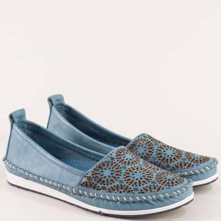 Перфорирани дамски обувки в син цвят с кожена стелка 30710102s