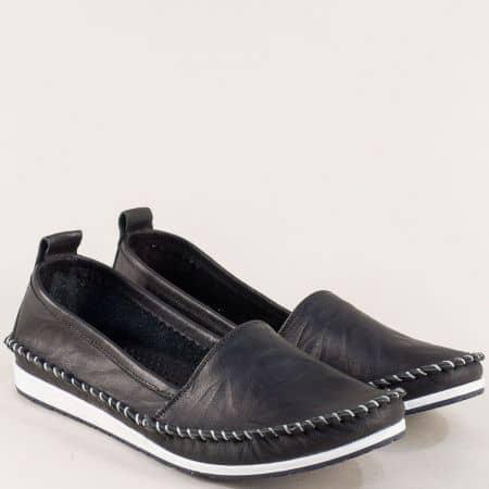 Черни дамски обувки от естествена кожа на равон ходило 3071010ch