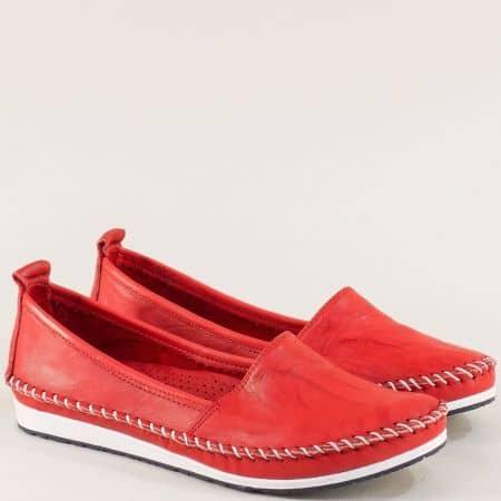 Червени дамски обувки тип мокасина от естествена кожа на равно ходило 3071010chv