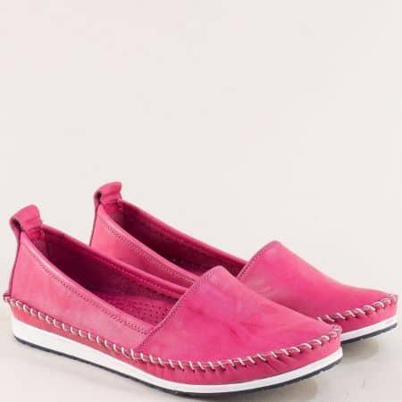Цикламени дамски обувки тип мокасина от естествена кожа 3071010ck