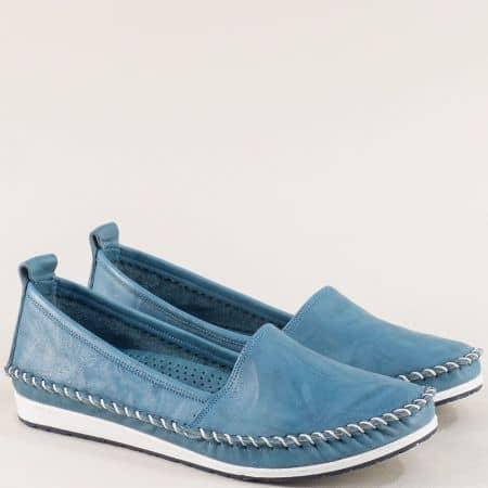 Сини дамски обувки тип мокасина от естествена кожа на равно ходило 3071010s