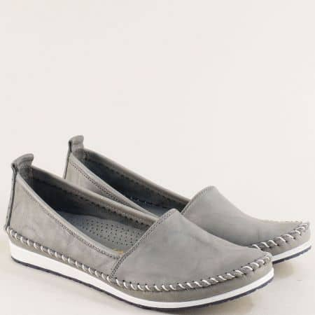 Сиви дамски обувки от естествена кожа на равно ходило 3071010sv