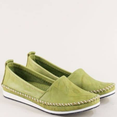 Зелени дамски обувки тип мокасина от естествена кожа на равно ходило 3071010z