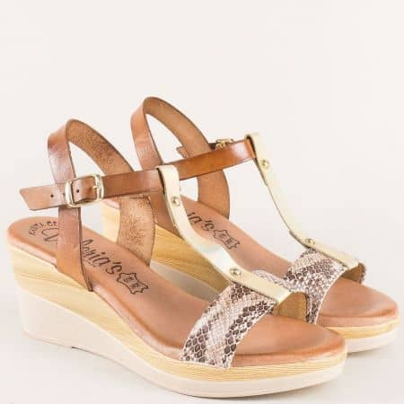 Кафяви дамски сандали от естествена кожа на стабилна платформа 3071k