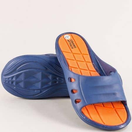 Дамски джапанки на равно ходило в синьо и оранж- GRAND ATTACK 30801s