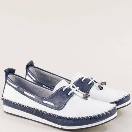 Дамски обувки в синьо и бяло от естествена кожа 3081010bs