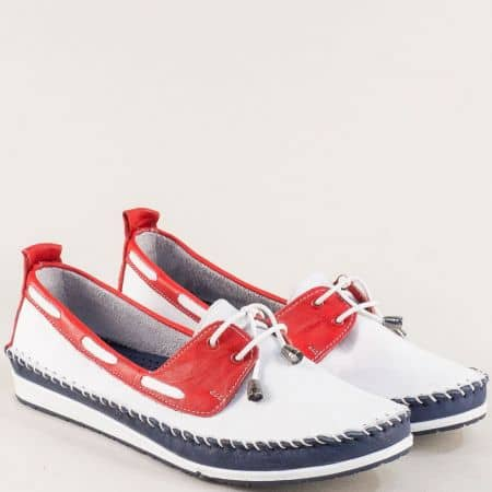 Дамски обувки в бяло, червено и синьо с ластични връзки 3081010btomi