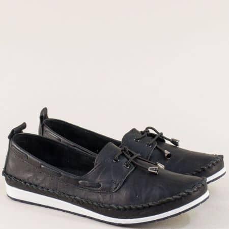 Черни дамски обувки на равно ходило с кожена стелка 3081010ch