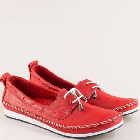 Дамски обувки от естествена кожа в червен цвят 3081010chv